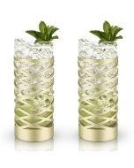 Viski® Gold & Crystal Patterned Highball Glasses