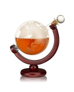Bulary123 Whiskey Decanter Set Vodka Globe Decanter With 4 Glasses Liquor Dispenser With Wood Stand Durable Wooden Sailboat Shape Glass Bottle
