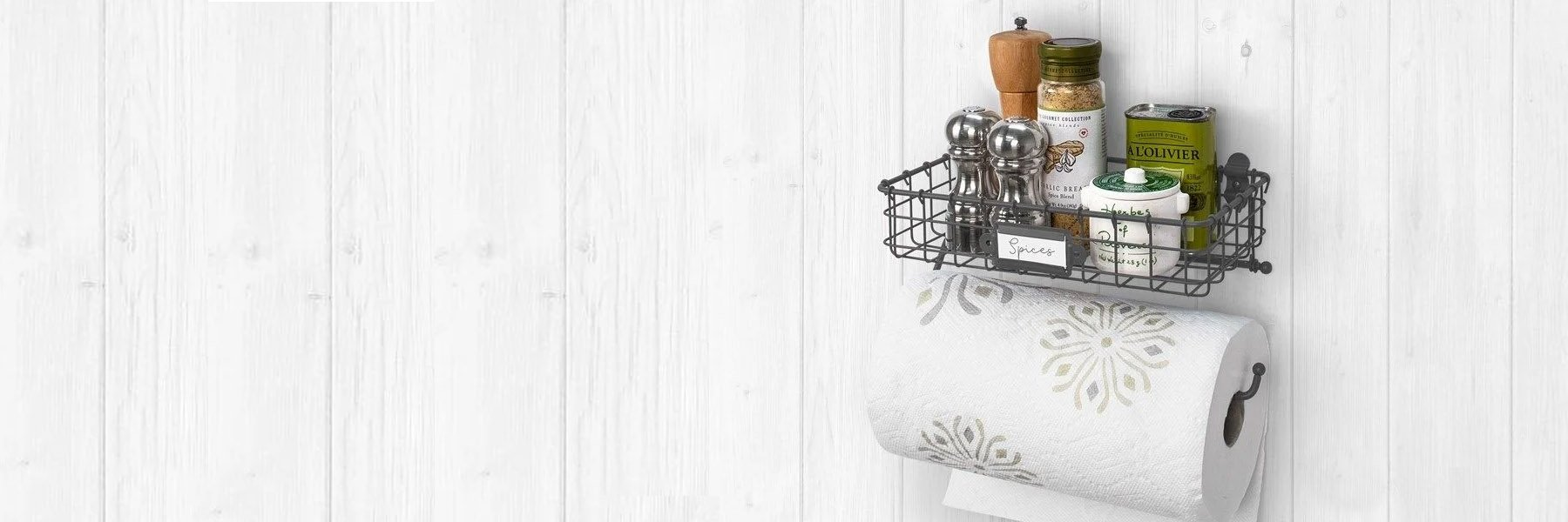 Photo of wall organizer with spices and napkin rack