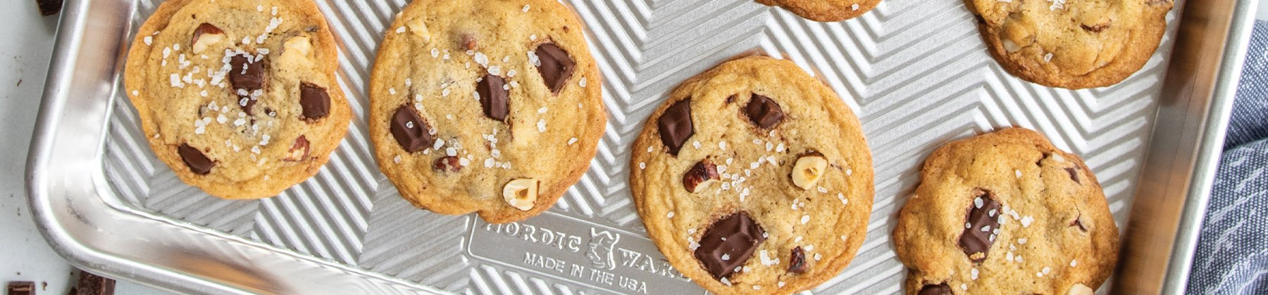 Photo of Nordic Ware baking sheet with Salted Chocolate Chip Cookies.