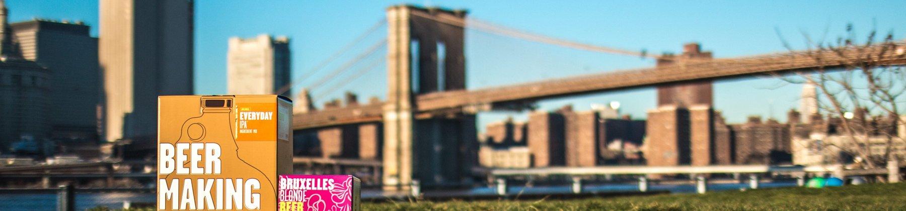 Photo of Brooklyn Bridge and Brooklyn Brew Shop box.